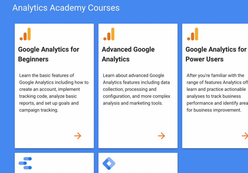 Google Analytics Academy free online course