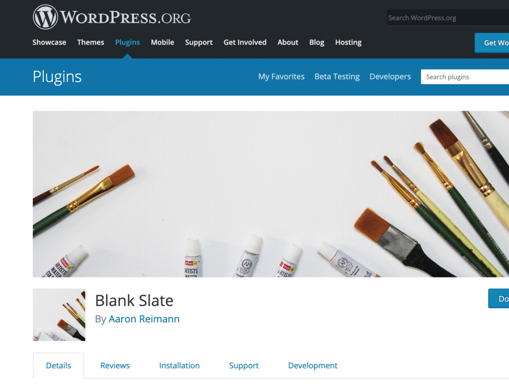 WordPress plugin: Blank Slate