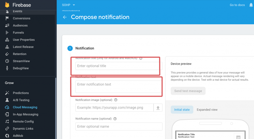 Configuring Firebase Cloud Messaging for EachScape apps